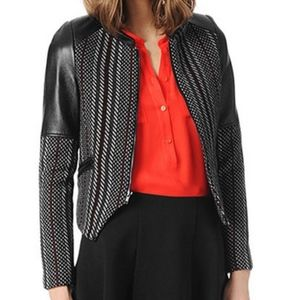 Parker Holly leather panel tweed jacket S
